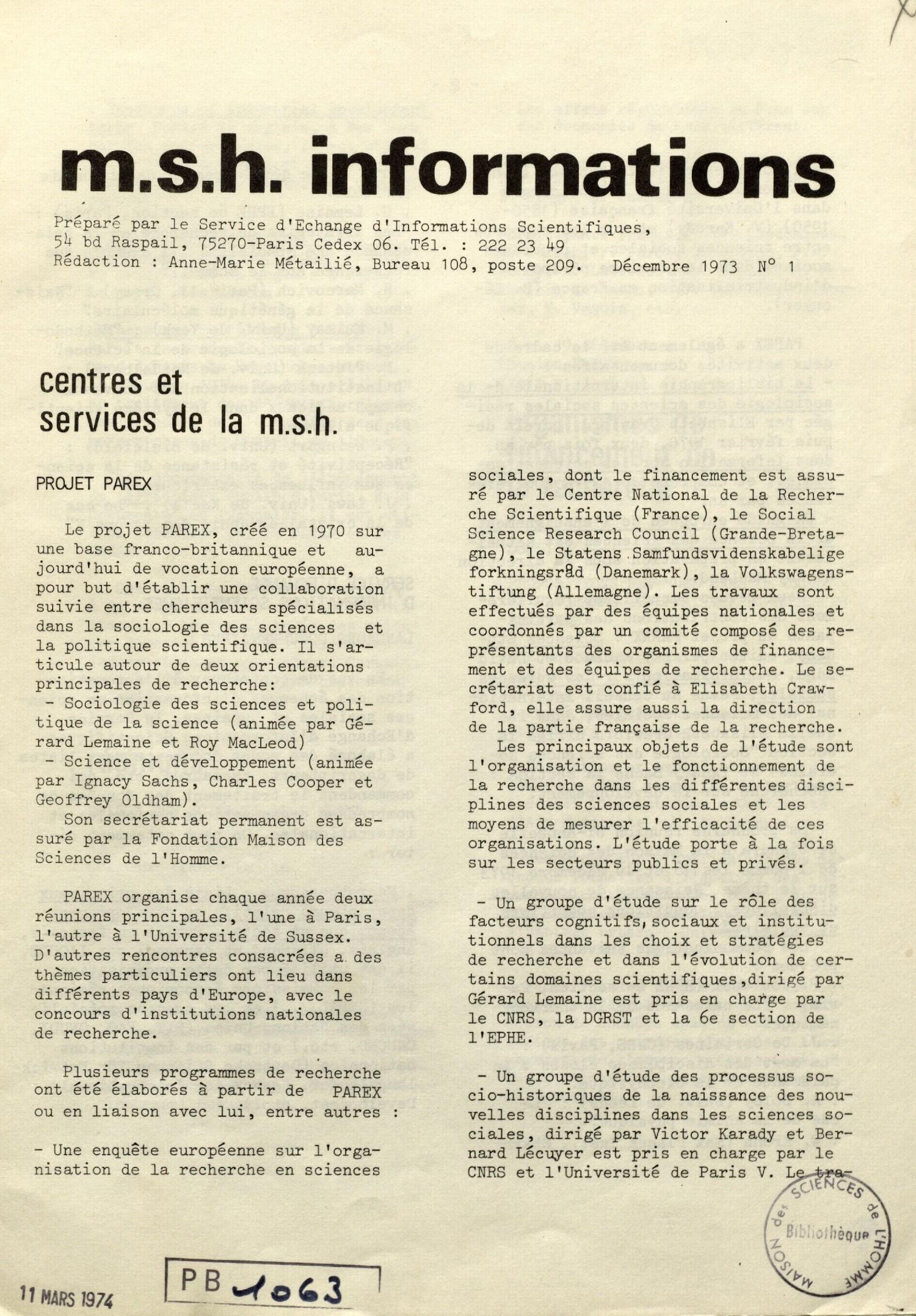 MSH-Informations, n°1, décembre 1973